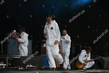 Stock Photo of Super Furry Animals - Guto Pryce, Gruff Rhys, Cian Ciaran and Huw Bunford