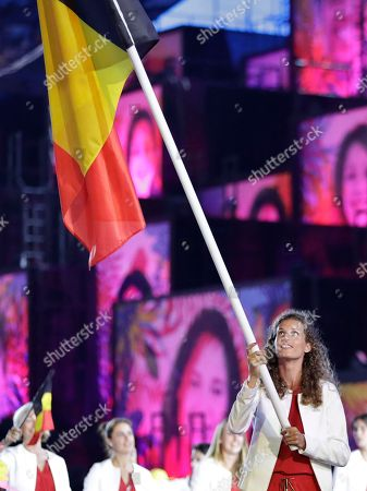 Olivia Borlee carries the flag of Belgium during the opening ceremony for the 2016 Summer Olympics in Rio de Janeiro, Brazil
