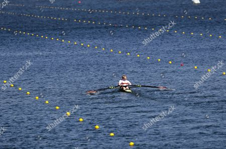 Marie-Catherine Arnold and Mareike Adams, of Germany, compete in the women's double sculll heat during the 2016 Summer Olympics in Rio de Janeiro, Brazil