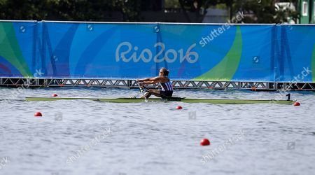 Genevra Stone, of United States, competes in the women's single scull heat during the 2016 Summer Olympics in Rio de Janeiro, Brazil