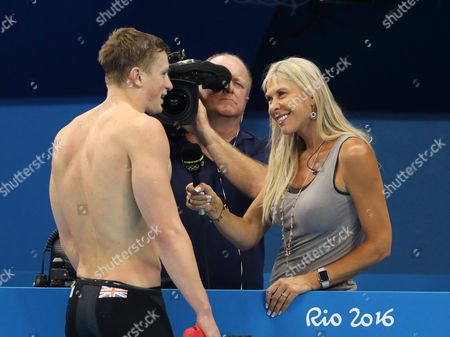 Swimming -Men's 100m Breastroke Semi Final 2  Great Britain's Adam Peaty is interviewed by BBC's Sharon Davies after  he wins during day one of the Rio Olympics 2016 on the 6th August 2016
