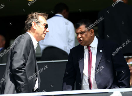 QPR chairman Tony Fernandes chats with Leeds United owner Massimo Cellino during the Sky Bet Championship match between Queens Park Rangers and Leeds United played at Loftus Road, London on 7th August 2016
