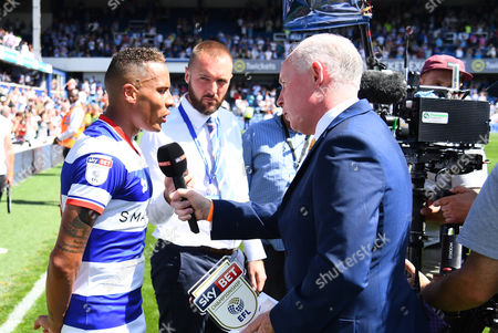 Tjarron Chery of QPR is interviewed by David Craig of Sky Sports after his man of the match performance during the Sky Bet Championship match between Queens Park Rangers and Leeds United played at Loftus Road, London on 7th August 2016