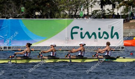 Grace Latz, Tracy Eisser, Megan Kalmoe, andAdrienne Martelli, of United States, compete in the women's quadruple scull heat heat during the 2016 Summer Olympics in Rio de Janeiro, Brazil