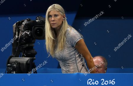 Sharon Davies, former GB Olympian, watches on from the pool side during day two of the Rio Olympics 2016 on the 7th August 2016