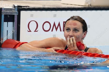 Jazmin Carlin for Team GB reacts to winning the silver in the women's 400m freestyle during day two of the Rio Olympics 2016 on the 7th August 2016