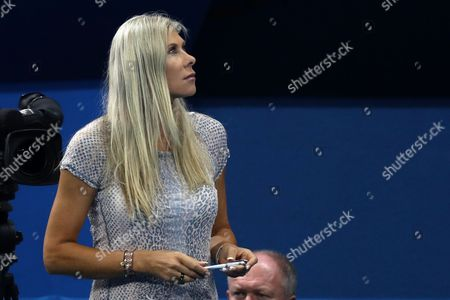 Sharron Davies, former GB Olympian, looks to the scoreboard from the pool side during day two of the Rio Olympics 2016 on the 7th August 2016