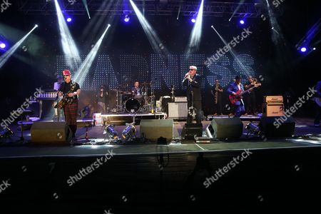 """Stock Photo of Madness - Michael """"Mike"""" """"Monsieur Barso"""" Barson, Lee Jay Thompson, Daniel """"Dan"""" Mark Woodgate (also known as Woody Woodgate), Graham '"""" Suggs """" McPherson, and Mark William Bedford (also known as Bedders)"""