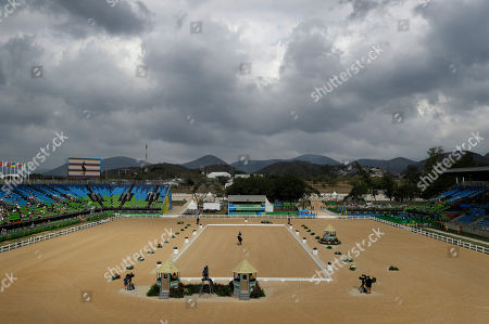 Rebecca Howard, of Canada, rides Riddle Master in the equestrian eventing dressage competition at the 2016 Summer Olympics in Rio de Janeiro, Brazil