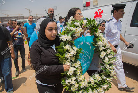 Students of Zewail university attend the second part of the funeral procession of Nobel prize-winning Egyptian-American chemist Ahmed Zewail