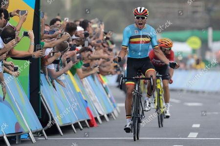 148451ac2 Greg Van Avermaet Belgium celebrates after crossing Stock Photo (5825043v)  - Shutterstock Editorial Photo