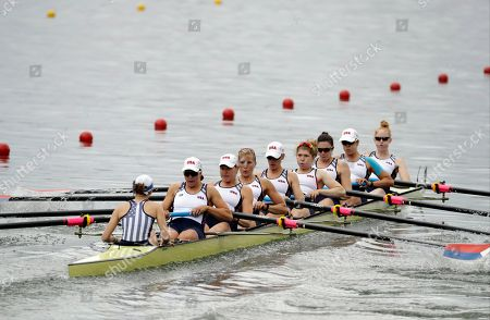 Grace Latz, Tracy Eisser, Megan Kalmoe, and Adrienne Martelli, of United States, compete in the women's eight heat during the 2016 Summer Olympics in Rio de Janeiro, Brazil