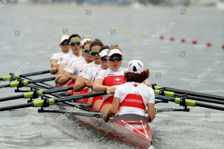 Cristy Nurse, Lisa Roman, Antje von Seydlitz-Kurzbach, Christine Roper, Lauren Wilkinson, Susanne Grainger, Natalie Mastracci, Caileigh Filmer, and Lesley Thompson-Willie, of Canada, compete in the women's eight heat during the 2016 Summer Olympics in Rio de Janeiro, Brazil