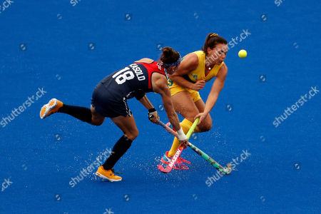 Stock Picture of Michelle Kasold, Georgie Parker United States' Michelle Kasold, left, fights for the ball with Australia's Georgie Parker during a women's field hockey match at the 2016 Summer Olympics in Rio de Janeiro, Brazil