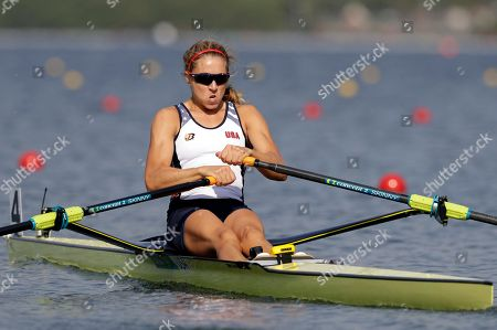 Genevra Stone, of United States, competes in the women's rowing single sculls quarterfinal heats during the 2016 Summer Olympics in Rio de Janeiro, Brazil
