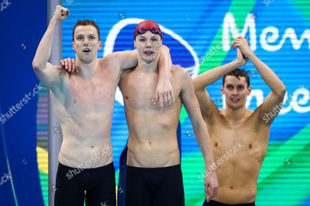 (l-r) Great Britain's Dan Wallace, Duncan Scott, Stephen Milne and James Guy (not pictured) celebrate winning Silver in the Men's 4x200m Freestyle Relay Final.