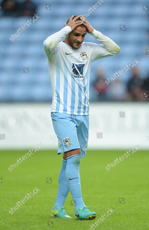 Marcus Tudgay of Coventry City reacts at half-time during the EFL Cup First Round match between Coventry City and  Portsmouth played at the Ricoh Arena, Coventry on 9th August 2016