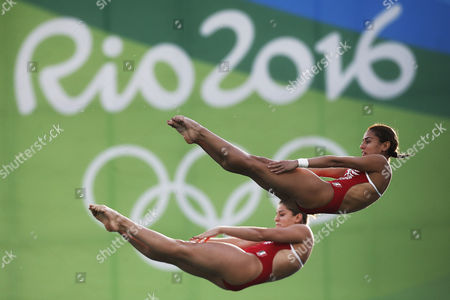 Mexico's Paola Espinosa and Alejandra Orozco warm up ahead of the women's synchronized 10-meter platform diving final in the Maria Lenk Aquatic Center at the 2016 Summer Olympics in Rio de Janeiro, Brazil, Tuesday, Aug. 9, 2016.