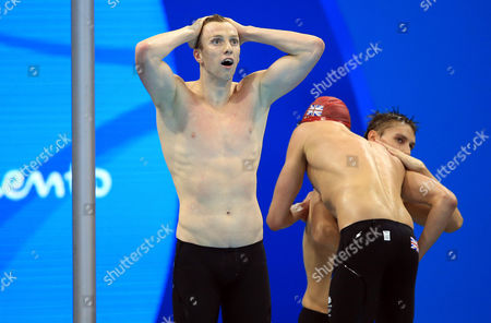 AUGUST 09:  Dan Wallace, Duncan Scott and Stephen Milne of Great Britain win Silver in the Men's 4x100m Freestyle Final on Day 4 of the Rio 2016 Olympic Games at the Olympic Aquatics Stadium on August 9, 2016 in Rio de Janerio, Brazil.  (Photo by Vaughn Ridley/SWpix.com)
