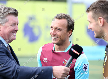 Mark Noble of West Ham and Burnley goalkeeper Tom Heaton are interviewed by Sky Sports Geoff Shreeves during the Premier League Season Launch 2016/17 at Market Road, North London on 10th August 2016