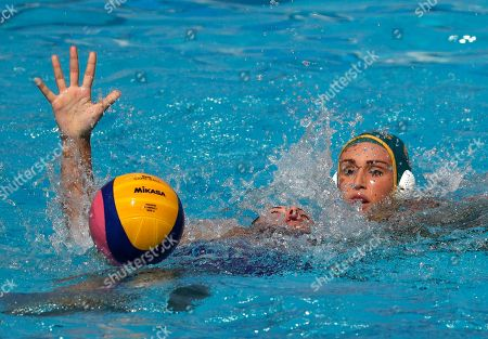 Evgeniia Soboleva, Holly Lincoln-Smith Russia's Russia's Evgeniia Soboleva,left, and Australia's Holly Lincoln-Smith, fight for the ball during their women's water polo preliminary round match at the 2016 Summer Olympics in Rio de Janeiro, Brazil