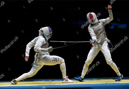 Nzingha Prescod, Astrid Guyard Nzingha Prescod from United States, left, and Astrid Guyard from France, compete in the women's foil individual fencing event at the 2016 Summer Olympics in Rio de Janeiro, Brazil