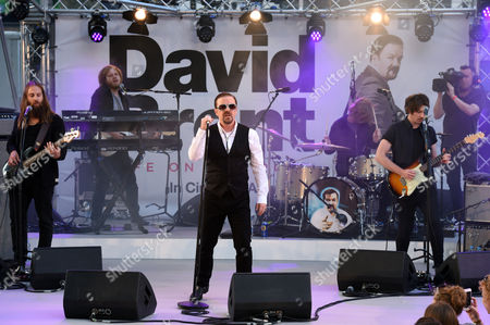 Ricky Gervais as David Brent with Foregone Conclusion - Michael Clarke, Andy Burrows, Steve Clarke and Stuart Wilkinson