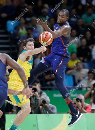 Damian Martin, Kevin Durant Australia's Damian Martin (15) knocks the ball from United States' Kevin Durant (5) during a men's basketball game at the 2016 Summer Olympics in Rio de Janeiro, Brazil