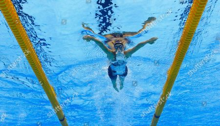 Denmark's Rikke Moller Pedersen competes in a semifinal of the women's 200-meter breaststroke during the swimming competitions at the 2016 Summer Olympics in Rio de Janeiro, Brazil