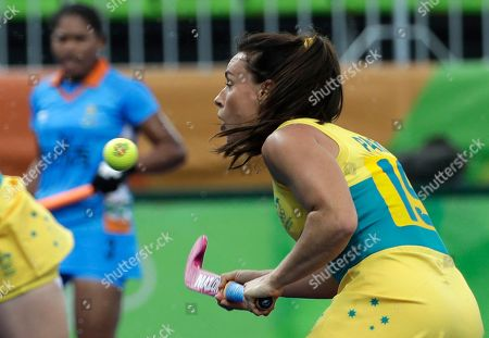 Australia's Georgie Parker, controls the ball during a women's field hockey match against India, at 2016 Summer Olympics in Rio de Janeiro, Brazil