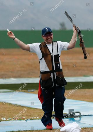 Steven Scott Steven Scott of Britain celebrates winning a shootout to secure the bronze medal in the men's double trap bronze medal match, at the Olympic Shooting Center at the 2016 Summer Olympics in Rio de Janeiro, Brazil