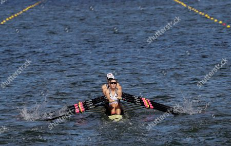 Grace Latz, Tracy Eisser, Megan Kalmoe and Adrienne Martelli, of United States, compete in the women's rowing quadruple sculls final during the 2016 Summer Olympics in Rio de Janeiro, Brazil