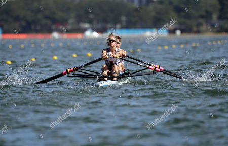 Stock Photo of Charlotte Taylor and Katherine Copeland, of Britain, compete in the women's rowing lightweight double sculls semifinal during the 2016 Summer Olympics in Rio de Janeiro, Brazil