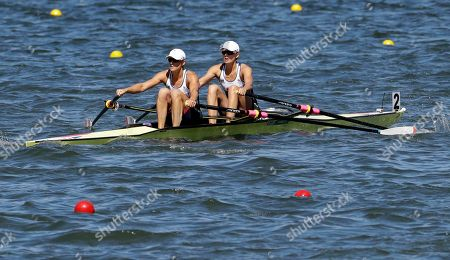 Victoria Thornley and Katherine Grainger, of Britain, compete in the women's rowing double sculls final during the 2016 Summer Olympics in Rio de Janeiro, Brazil