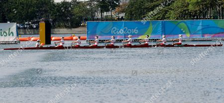 Cristy Nurse, Lisa Roman, Antje von Seydlitz-Kurzbach, Christine Roper, Lauren Wilkinson, Susanne Grainger, Natalie Mastracci, Caileigh Filmer and Lesley Thompson-Willie, of Canada, compete in the women's rowing eight repechage during the 2016 Summer Olympics in Rio de Janeiro, Brazil