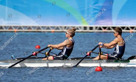 Charlotte Taylor and Katherine Copeland, of Britain, compete in the women's rowing lightweight double sculls semifinal during the 2016 Summer Olympics in Rio de Janeiro, Brazil