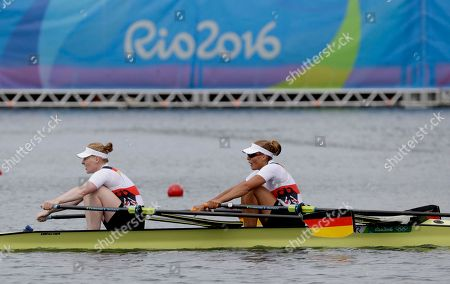 Stock Image of Marie-Catherine Arnold and Mareike Adams, of Germany, competes in the women's rowing double sculls final during the 2016 Summer Olympics in Rio de Janeiro, Brazil