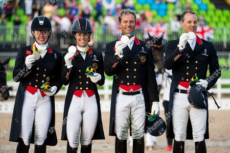 Team GB Silver Medalists (L-R) Fiona Bigwood, Charlotte Dujardin, Carl Hester and Spencer Wilton - Dressage ? Grand Prix Special (Team Final & 2nd Individual Qualifier) ? Rio 2016 Olympic Games ? Deodoro, Rio de Janeiro, Brazil ? 12 August 2016
