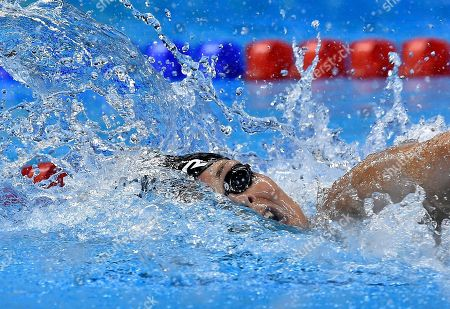 Stock Picture of Denmark's Lotte Friis competes during a women's 800-meter freestyle heat during the swimming competitions at the 2016 Summer Olympics, in Rio de Janeiro, Brazil