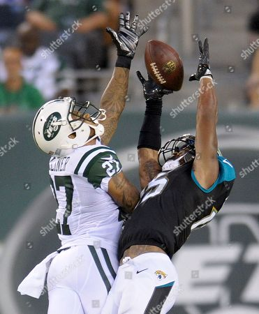 Stock Image of Jacksonville Jaguars wide receiver Allen Robinson (15) makes a catch against New York Jets cornerback Dee Milliner (27) during the first quarter of an NFL football game, in East Rutherford, N.J