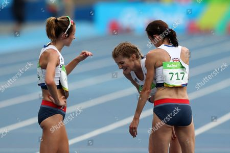 Stock Photo of Jess Andrews, Beth Potter and Jo Pavey of Team GB altogether after they finish the Women's 10,000m during day seven of the Rio Olympics 2016 on the 12th August 2016