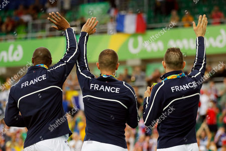 Gregory Bauge, Michael D'Almeida, Francois Pervis French bronze medalists, from left, Gregory Bauge, Michael D'Almeida and Francois Pervis stand on the podium of the men's team sprint finals at the Rio Olympic Velodrome during the 2016 Summer Olympics in Rio de Janeiro, Brazil