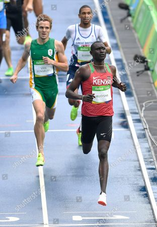 Stock Picture of Kenya's David Rudisha competes in a men's 800-meter heat during the 2016 Summer Olympics in Rio de Janeiro, Brazil