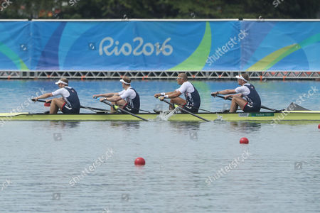 Alex Gregory, Mohamed Sbihi, George Nash and Constantine Louloudis, of Britain,rowes to win their gold medal in the men's rowing four final during the 2016 Summer Olympics in Rio de Janeiro, Brazil, Friday, Aug. 12, 2016.