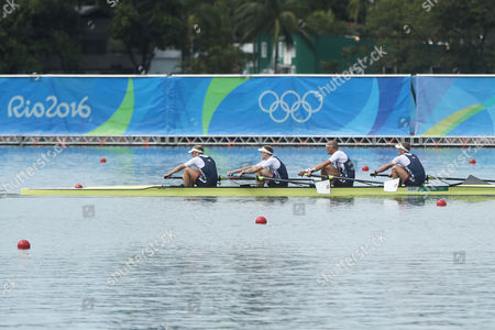Alex Gregory, Mohamed Sbihi, George Nash and Constantine Louloudis, of Britain, rowes to win their gold medal in the men's rowing four final during the 2016 Summer Olympics in Rio de Janeiro, Brazil, Friday, Aug. 12, 2016.