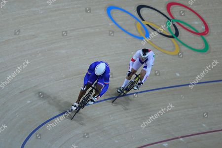 Gregory Bauge of France and Pavel Kelemen of Czech Republic competes in the Men's sprint at the Rio Olympic Velodrome during the 2016 Summer Olympics in Rio de Janeiro, Brazil, Friday, Aug. 12, 2016