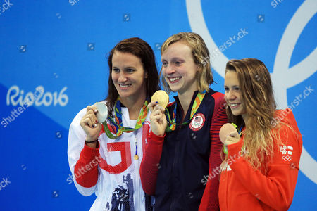 AUGUST 12:  Jazz Carlin of Great Britain wins Silver, Katie Ledecky of the USA wins Gold and Boglarka Kaps of Hungary wins Bronze in the Women's 800m Freestyle Final on Day 7 of the Rio 2016 Olympic Games at the Olympic Aquatics Stadium on August 12, 2016 in Rio de Janerio, Brazil.  (Photo by Vaughn Ridley/SWpix.com)
