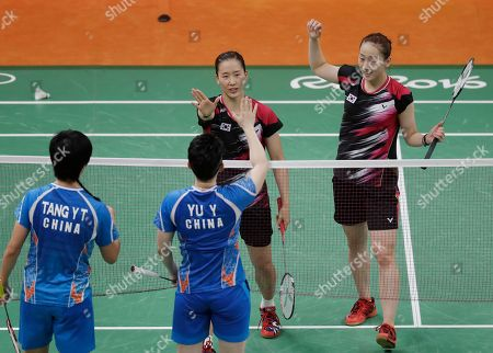 Lee So-hee, Chang Ye-na South Korea's Lee So-hee, right, and Chang Ye-na shake hands with China's Tang Yuanting and Yu Yang during a Women's Double match at the 2016 Summer Olympics in Rio de Janeiro, Brazil