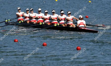 Cristy Nurse, Lisa Roman, Antje von Seydlitz-Kurzbach, Christine Roper, Lauren Wilkinson, Susanne Grainger, Natalie Mastracci, Caileigh Filmer and Lesley Thompson-Willie, of Canada, compete in the women's rowing eight final during the 2016 Summer Olympics in Rio de Janeiro, Brazil