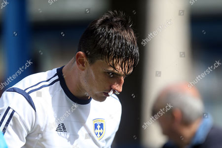 Ashley Palmer of Guiseley with a bloodied nose during Guiseley vs Dagenham and Redbridge, Vanarama National League Football at Nethermoor Park on 13th August 2016